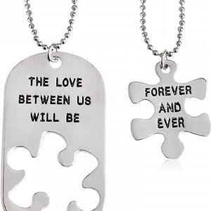 Partnerský řetízek s psí známkou a puzzle