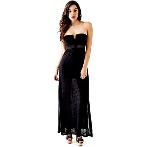 Guess Dámské šaty Strapless Applique Maxi Dress Black L
