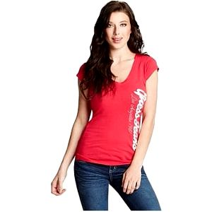 Guess Tričko Rosalia Tee Q44P25K00R0 červeno-růžové S