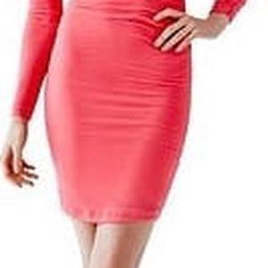 Guess Dámské šaty Long Sleeve V-Back Dress Pink M