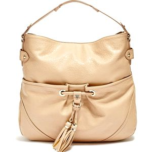 Guess Elegantní business kabelka Molly Tassel Hobo Bag Beige