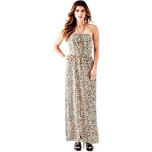 Guess Dámské šaty Leopard - Print Pleated Maxi Dress M