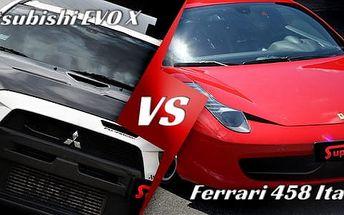 Jízda na okruhu ve Ferrari 458 Italia a závodním Mitsubishi Lancer EVO X