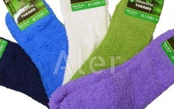 Dámské zdravotní hřejivé termo ponožky s bambusovým vláknem, různě jednobarevné.