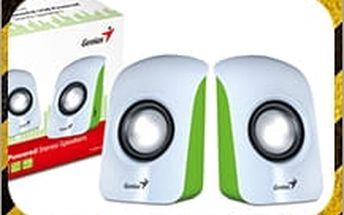 Přenosné reproduktory Genius v bílo-zelené barvě za super cenu. Buďte vybavení hudbou i na cestách!