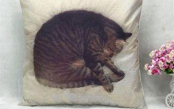Povlak na polštář se spící kočičkou