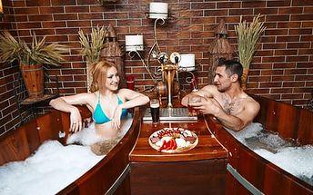 Hodinový zážitek v Pivních lázních pro 2 osoby s koupelí v kádi, saunováním a občerstvením