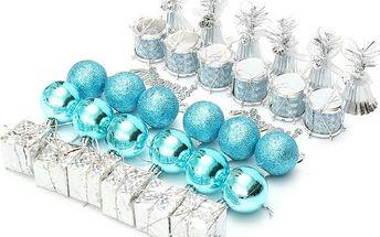 Sada vánočních ozdob - tyrkysová - stříbrná barva
