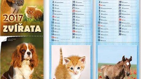 Nástěnný kalendář 2017 - pohlednice se zvířátky - dodání do 2 dnů
