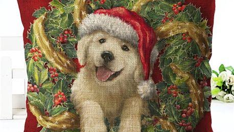 Vánoční povlak na polštář - Štěňátka a koťátka