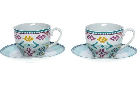 Set porcelánových hrnků a podšálků Mint, 6 ks (200 ml)