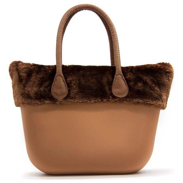 Fashion Icon Dámská kabelka plastová bag kožešinový lem