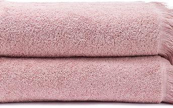 Sada 2 růžových bavlněných osušek Casa Di Bassi Bath, 70 x 140 cm