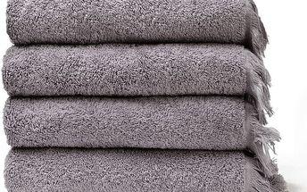 Sada 4 šedých bavlněných ručníků Casa Di Bassi Bath, 50 x 90 cm