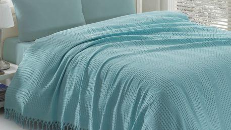 Lehký přehoz přes postel Pique Blue, 220x240 cm