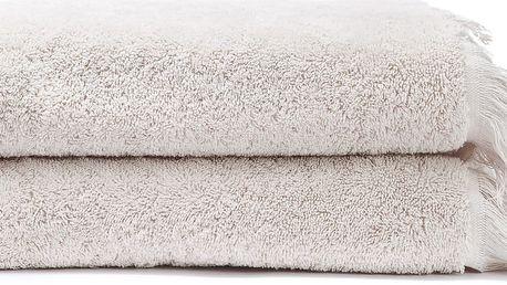 Sada 2 krémových bavlněných ručníků Casa Di Bassi Face, 50 x 90 cm