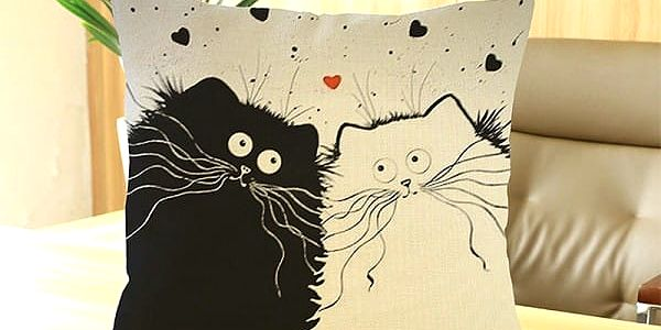 Povlak na polštář s bláznivými kočkami