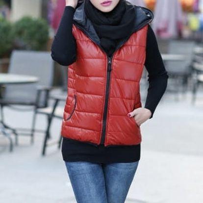 Dámská prošívaná vesta s kapucí