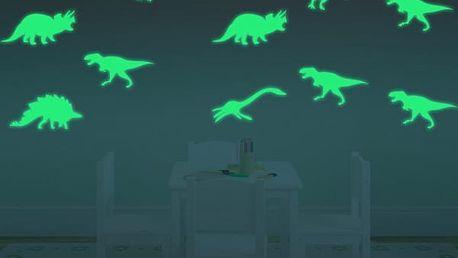 Fluorescenční samolepky na zeď - Dinosauři - 9 kusů