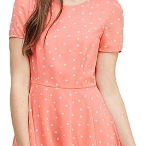 Forever 21 Dámské šaty Polka Dot Fit & Flare Dress - růžové L