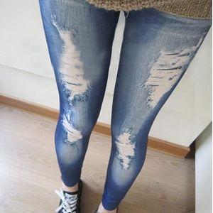 Dámské legíny s motivy potrhaných džínů