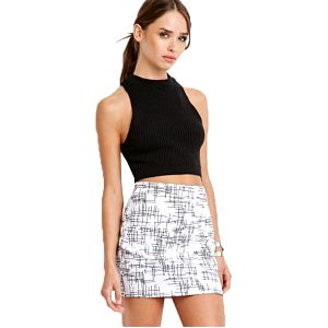 Forever 21 Dámská sukně Abstract Crosshatch Mini Skirt M