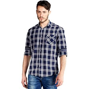 Edward Jeans Pánská košile Denim Shirts Chequered 16.1.1.03.012 L