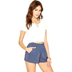 Forever 21 Dámské šortky Boxy Woven Shorts - modré S