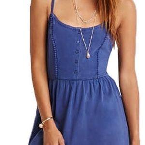 Forever 21 Dámské šaty Lace-Paneled Cami Dress-modrá S