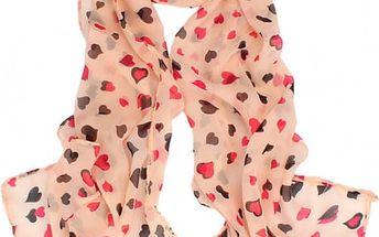 Dámský šátek s rozkošnými srdíčky - 3 barvy