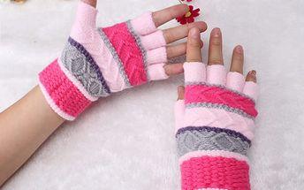 Dámské pruhované rukavice v pestrých barvách
