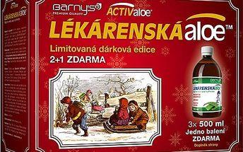 Barnys Lékárenská aloe 3 x 500 ml - VÁNOČNÍ BALENÍ - 2+1 balení zdarma jako dárek
