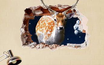 3D samolepka na zeď - jelen