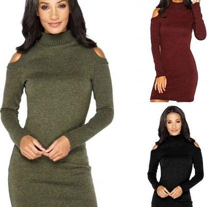 Úpletové šaty s vykrojenými rameny Suzanne