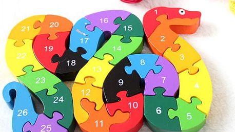 Barevné puzzle hada