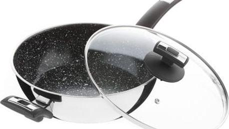 Nerezová pánev Kolimax Cerammax Pro Comfort se skleněnou poklicí, s rukojetí a úchytem, 26cm/3,5l, vysoká 8 cm, keramický povrch černý granit