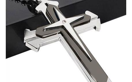 Pánský řetízek s křížkem a kamínkem