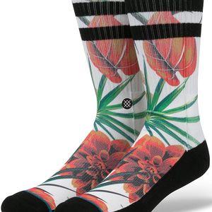 Černo-bílé pánské ponožky s květovaným motivem Stance Wanderer