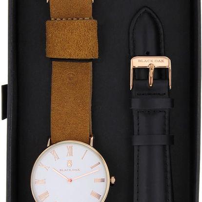 Set hnědých pánských hodinek s řemínky Black Oak Elegant - doprava zdarma!