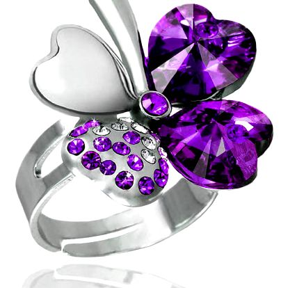 Fashion Icon Prsten čtyřlístek s krystaly Swarovski elements