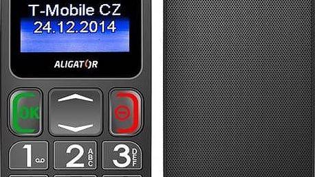 Mobilní telefon Aligator Senior A320 DualSim (A320GB) černý/šedý SIM s kreditem T-Mobile Twist V síti 200 Kč kredit (zdarma)