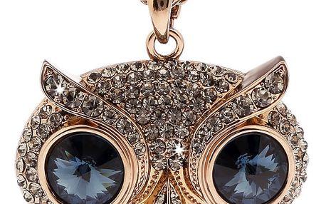 Fashion Icon Přívěšek sova s řetízkem pokovený rutheniem a platinou