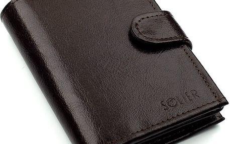 Pánská kožená peněženka SW04 s patentem, hnědá
