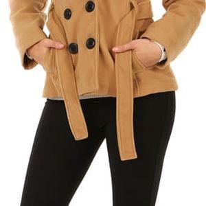 Krátký kabát s límcem béžová