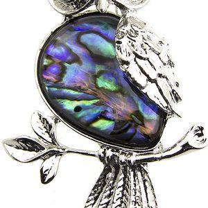 Fashion Icon Brož sovička s Paua perletí a krystalky