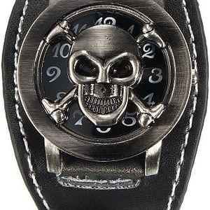 Náramkové hodinky s odklápěcí lebkou