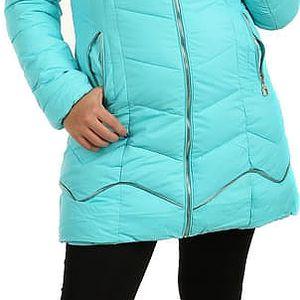 Delší prošívaná bunda s ozdobným zipem tyrkysová