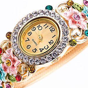 Dámské hodinky s květinami a kamínky - 6 variant