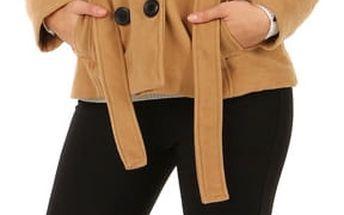 Krátký kabát s límcem hnědá