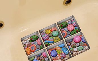 3D samolepka do vany - barevné kameny